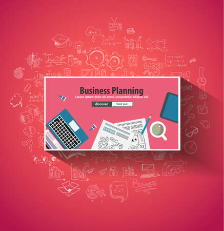 creative planning: Business Planning concept wih Doodle design style :finding solution, brainstorming, creative thinking. Modern style illustration for web banners, brochure and flyers.