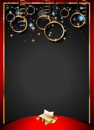 christmas star background: Christmas Vintage Classic Background with balls and star lights with a lot of space for text. Ideal  for outstanding greeting card or dinner invitations. Illustration