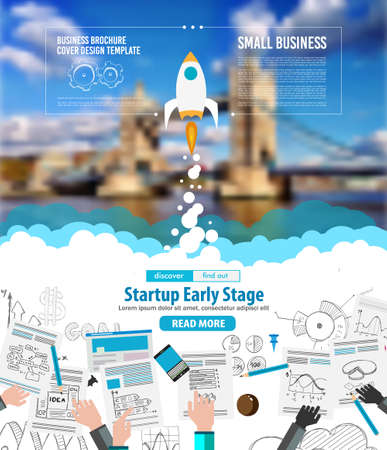 innovation concept: Startup Landing Webpage or Corporate Design Covers to use for web promotons, printed related materials or company presentation. Space for text.