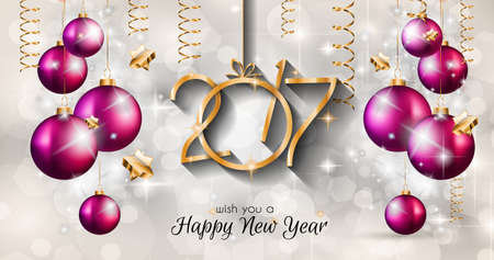greetings card: 2017 Happy New Year Background for your Seasonal Flyers and Greetings Card or Christmas themed invitations.