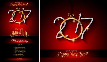 new years parties: 2017 Happy New Year Restaurant Menu Template Background for Seasonal Dinner Event, Parties Flyer, Lunch Event Invitations, Xmas Cards and so on.
