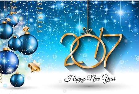 nouvel an: 2017 Happy New Year Background pour votre Flyers et salutations saisonnières carte ou le thème de Noël invitations.