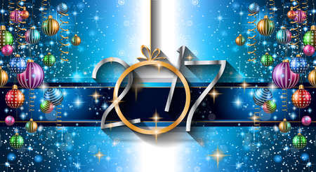 in years: 2017 Happy New Year Background for your Seasonal Flyers and Greetings Card or Christmas themed invitations.