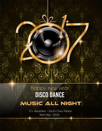 2017 Happy New Year Club Party Tło dla Sezonowe Dance Event i Discoteque plakatu lub Boże Narodzenie Podobne Music Fest.