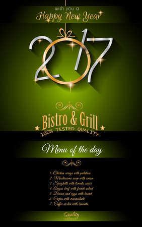 new years background: 2017 Happy New Year Restaurant Menu Template Background for Seasonal Dinner Event, Parties Flyer, Lunch Event Invitations, Xmas Cards and so on.