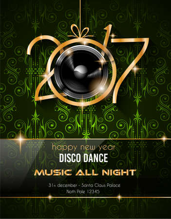 discoteque: 2017 Happy New Year Club Party Background for your Seasonal Dance Event and Discoteque Poster or Christmas Related music fest.