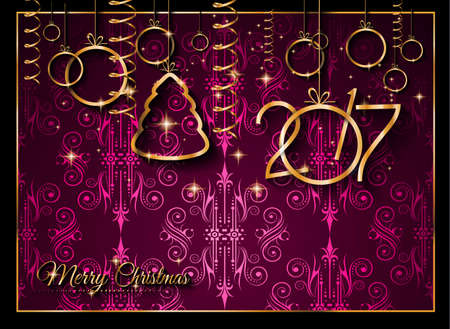 color balls: 2017 Happy New Year Background for your Seasonal Flyers and Greetings Card or Christmas themed invitations.