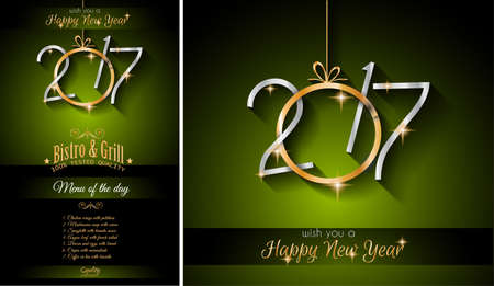 new year eve: 2017 Happy New Year Restaurant Menu Template Background for Seasonal Dinner Event, Parties Flyer, Lunch Event Invitations, Xmas Cards and so on.
