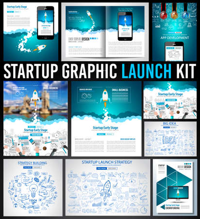 webpage: Startup Graphic Lauch Kit with Landing Webpages, Corporate Design Covers to use for web promotons, printed related materials or company presentation. Space for text. Illustration