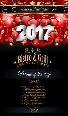 eve: 2017 Happy New Year Restaurant Menu Template Background for Seasonal Dinner Event, Parties Flyer, Lunch Event Invitations, Xmas Cards and so on.