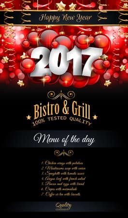 nouvel an: 2017 Happy New Year restaurant Menu Template Fond saisonnier Dîner Événement, Parties Flyer, Déjeuner événement Invitations, cartes de Noël et ainsi de suite.