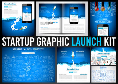 space cartoon: Startup Graphic Lauch Kit with Landing Webpages, Corporate Design Covers to use for web promotons, printed related materials or company presentation. Space for text. Stock Photo