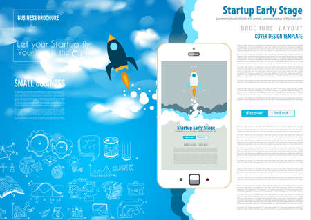start up: Startup Landing Webpage or Corporate Design Covers to use for web promotons, printed related materials or company presentation. Space for text.