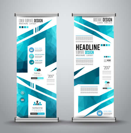 vertical banner: Advertisement roll up business flyer or brochure banner with vertical design. Vector template for cover presentation with geometrical shape background. Ideal for modern x-banner and flag-banner.