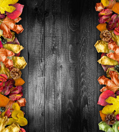 aged wood: Autumn Leaves over a Natural Dark Wooden background. Old dirty wood tables or parquet with knots and holes and aged partculars.