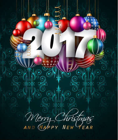 greeting christmas: 2017 Happy New Year Background for your Seasonal Flyers and Greetings Card or Christmas themed invitations.
