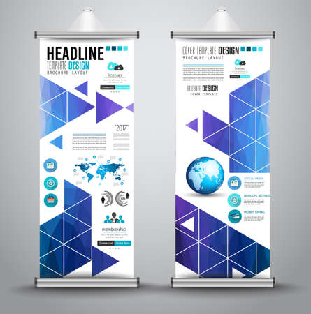 business background: Advertisement roll up business flyer or brochure banner with vertical design. Vector template for cover presentation with geometrical shape background. Ideal for modern x-banner and flag-banner.