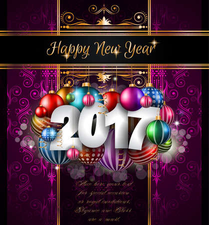 celebration eve: 2017 Happy New Year Background for your Seasonal Flyers and Greetings Card or Christmas themed invitations.