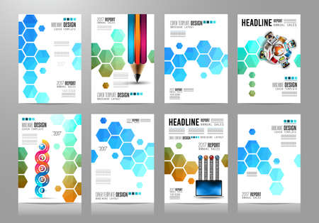 page layout: Set of Brochure templates, Flyer Designs or Depliant Covers for business presentation and magazine covers, annual reports and marketing generic purposes.