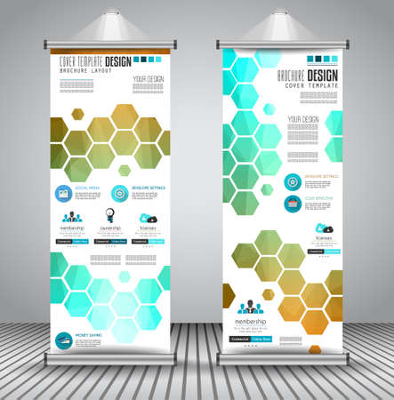 x stand: Advertisement roll up business flyer or brochure banner with vertical design. Vector template for cover presentation with geometrical shape background. Ideal for modern x-banner and flag-banner.