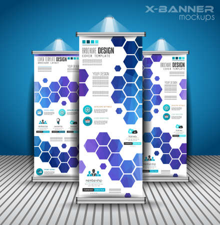 Set of Advertisement roll up business flyers or brochure banners with vertical design. Vector template for cover presentation with geometrical shape background. Ideal for modern x-banner and flag-banner.