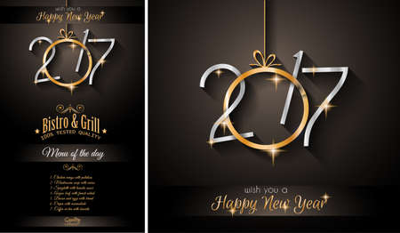 modern christmas baubles: 2017 Happy New Year Restaurant Menu Template for your Seasonal Flyers and Greetings Card or Christmas themed invitations backgrounds.