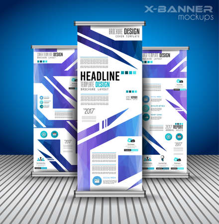 x stand: Set of Advertisement roll up business flyers or brochure banners with vertical design. Vector template for cover presentation with geometrical shape background. Ideal for modern x-banner and flag-banner.