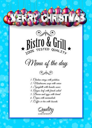 dinner menu: Christmas Dinner or lunch Restaurant Menu Template for your Seasonal Flyers and Greetings Card or Christmas themed invitations backgrounds.