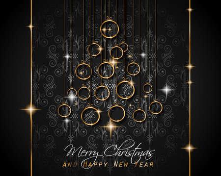 Fröhlicher Weihnachtsbaum Flyer mit goldenen elegante Baumkugeln und leuchtende Licht Sterne. Hintergrund für die saisonale Einladungen, neues Jahr Poster und Grüße Feier geschmückt Tapeten. Vektorgrafik
