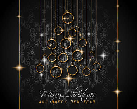 Merry Christmas Tree Flyer with Golden elegant baubles and glowing light stars. Background for seasonal invitations, new year posters and celebration decorated greetings wallpapers. Vektorové ilustrace