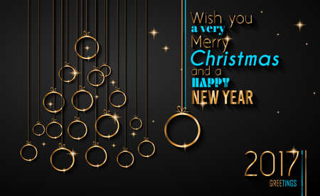 happy new years: Merry Christmas Tree Flyer with Golden elegant baubles and glowing light stars. Background for seasonal invitations, new year posters and celebration decorated greetings wallpapers.