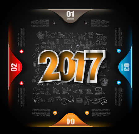 business trends: 2017 New Year Infographic and Business Plan Background for your Flyers and Hand Drawn Business and infographic sketches.