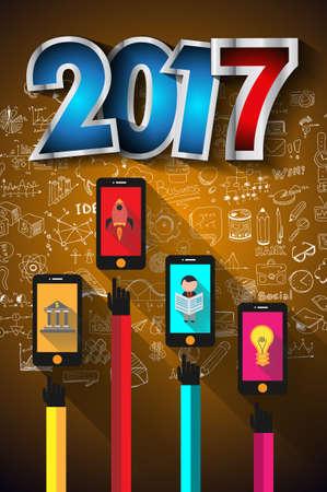 유행: 당신의 전단지와 손으로 그린 비즈니스 및 인포 그래픽 스케치를위한 2017 새해 인포 그래픽 및 사업 계획의 배경입니다.