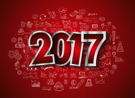 new technology: 2017 New Year Infographic and Business Plan Background for your Flyers and Hand Drawn Business and infographic sketches.