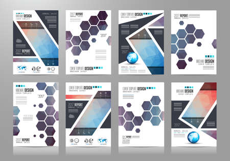 Set of Brochure templates, Flyer Designs or Depliant Covers for business presentation and magazine covers, annual reports and marketing generic purposes.