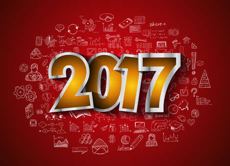calendar icon: 2017 New Year Infographic and Business Plan Background for your Flyers and Hand Drawn Business and infographic sketches.
