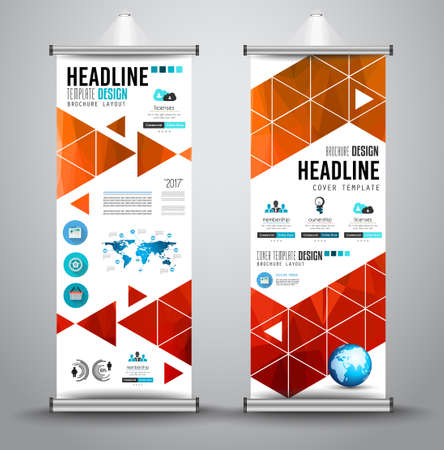 blue abstract: Advertisement roll up business flyer or brochure banner with vertical design. Vector template for cover presentation with geometrical shape background. Ideal for modern x-banner and flag-banner.