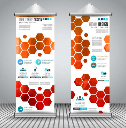 flyer background: Advertisement roll up business flyer or brochure banner with vertical design. Vector template for cover presentation with geometrical shape background. Ideal for modern x-banner and flag-banner.
