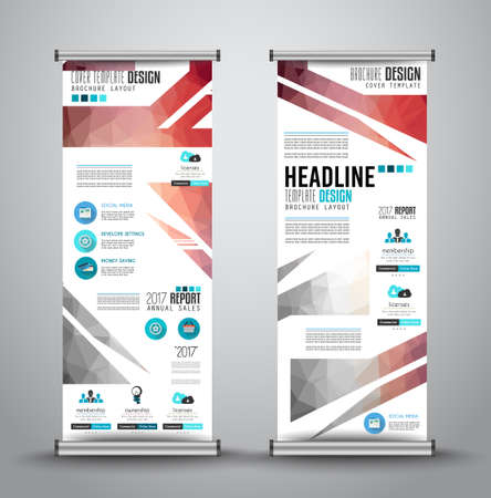 x stand: Advertisement roll up business or brochure banner with vertical design. template for cover presentation with geometrical shape background. Modern x-banner and flag-banner.