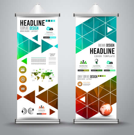 advertisements: Advertisement roll up business or brochure banner with vertical template for cover presentation with geometrical shape background. Modern x-banner and flag-banner. Illustration