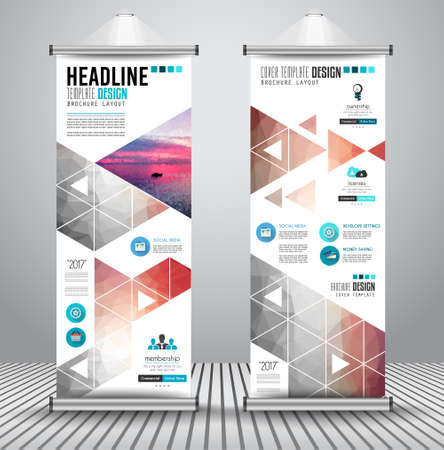 Advertisement roll up business or brochure banner with vertical design. Vector template for cover presentation with geometrical shape background. Modern x-banner and flag-banner.