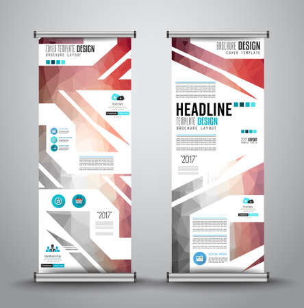 x stand: Advertisement roll up business or brochure banner with vertical design. Vector template for cover presentation with geometrical shape background. Modern x-banner and flag-banner. Illustration