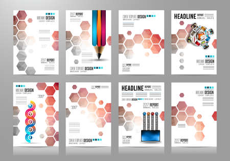 sheet of paper: Set of Brochure templates, Designs or Depliant Covers for business presentation and magazine covers, annual reports and marketing generic purposes. Illustration
