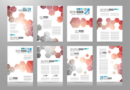 blue abstract: Set of Brochure templates, Designs or Depliant Covers for business presentation and magazine covers, annual reports and marketing generic purposes. Illustration