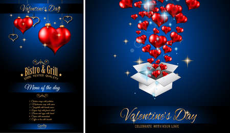 romance: Valentines Day Restaurant Menu Template Background for Romantic Dinner Event, Parties Flyer, Lunch Event Invitations, Love Cards and so on. Illustration