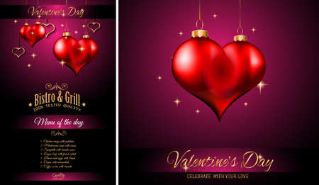 dinner menu: Valentines Day Restaurant Menu Template Background for Romantic Dinner Event, Parties Flyer, Lunch Event Invitations, Love Cards and so on. Illustration
