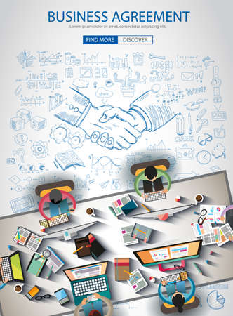 websit: Business Agreement Brochure template with hand drawn sketches and a lot of infographic design elements and mockups. Ideal forTeamwork ideas, branstorming sessions and generic business plan presentationsl.