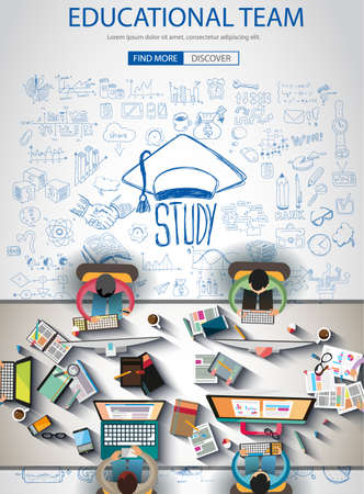 websit: Educational Infograph Brochure template with hand drawn sketches and a lot of infographic design elements and mockups. Ideal forTeamwork ideas, branstorming sessions and generic business plan presentationsl.