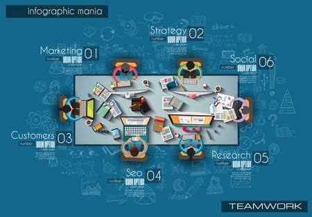 Infograph Brochure template with hand drawn sketches and a lot of infographic design elements. Ideal forTeamwork ideas, branstorming sessions and generic business plan presentationsl.