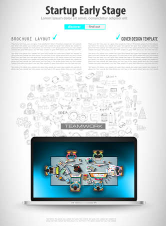 Infograph Brochure template with hand drawn sketches and a lot of infographic design elements and mockups. Ideal forTeamwork ideas, branstorming sessions and generic business plan presentationsl. Illustration